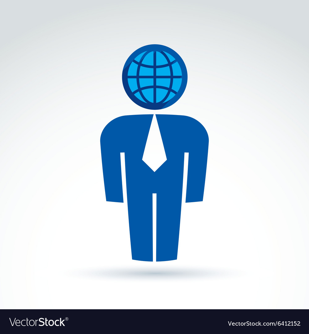 White collar office worker man icon with earth vector image