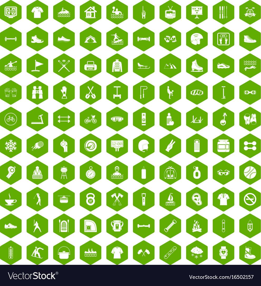 100 sport life icons hexagon green