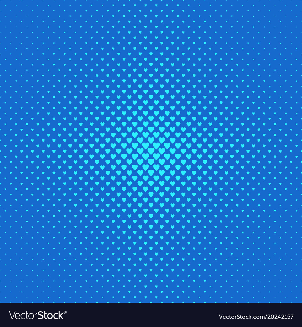 Blue halftone heart background pattern - love