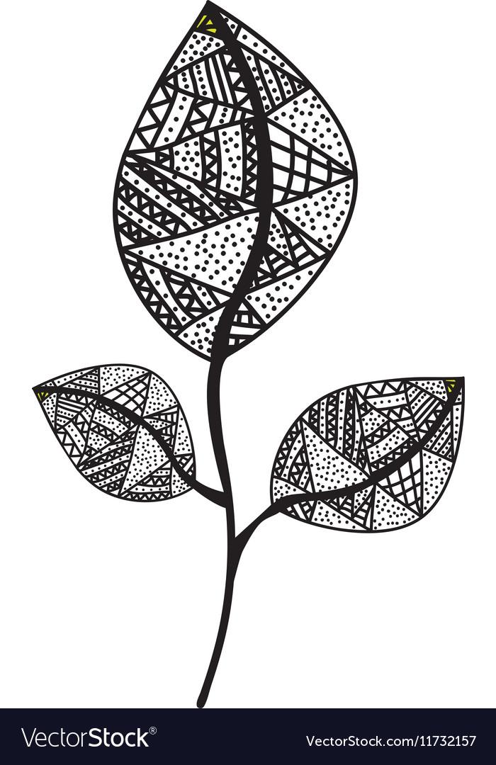 Bohemian or boho style leaf icon image vector image