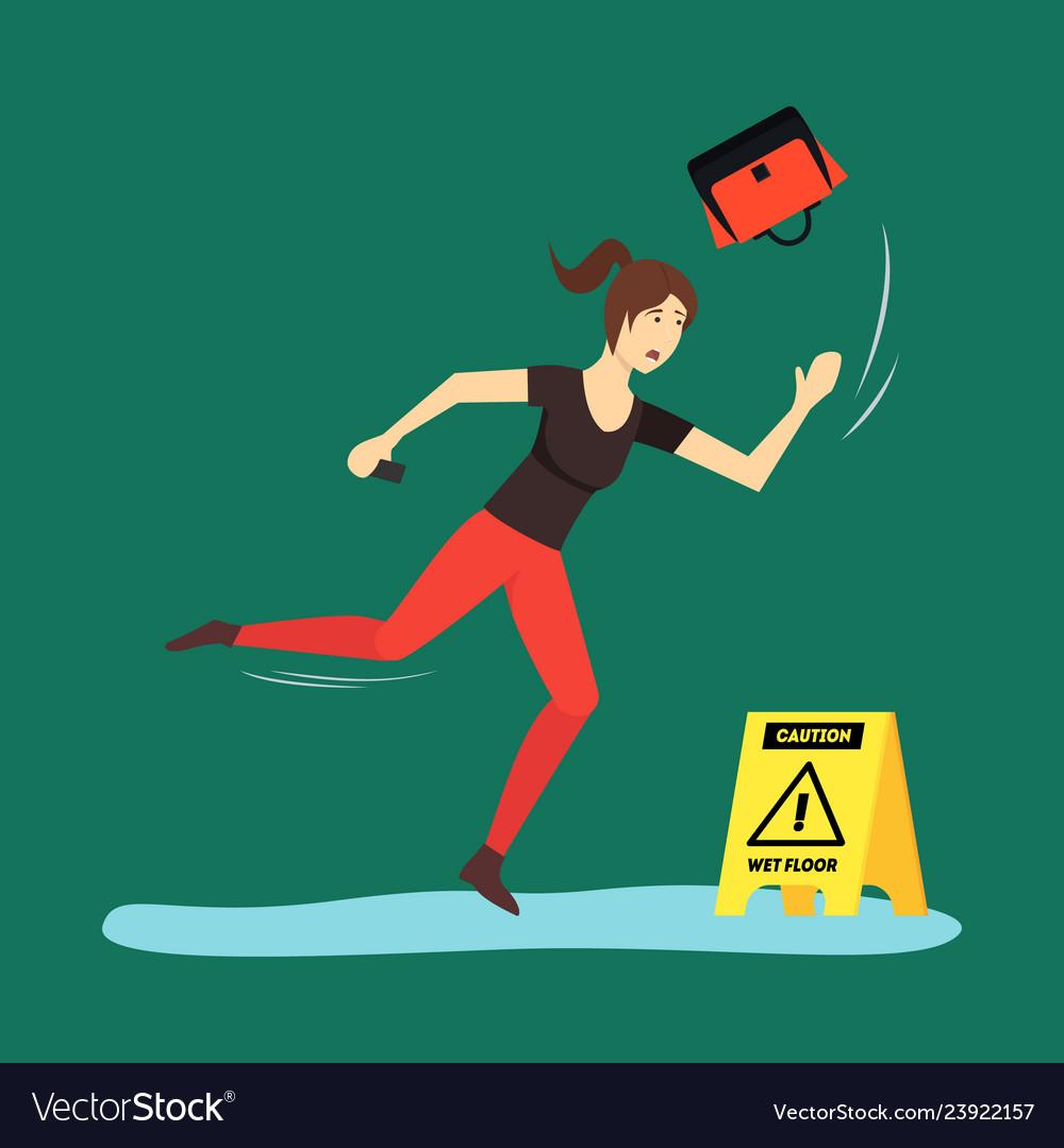 Cartoon caution wet floor with character woman