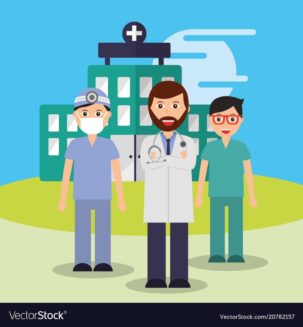 Doctor nurse and surgeon staff medical team vector image