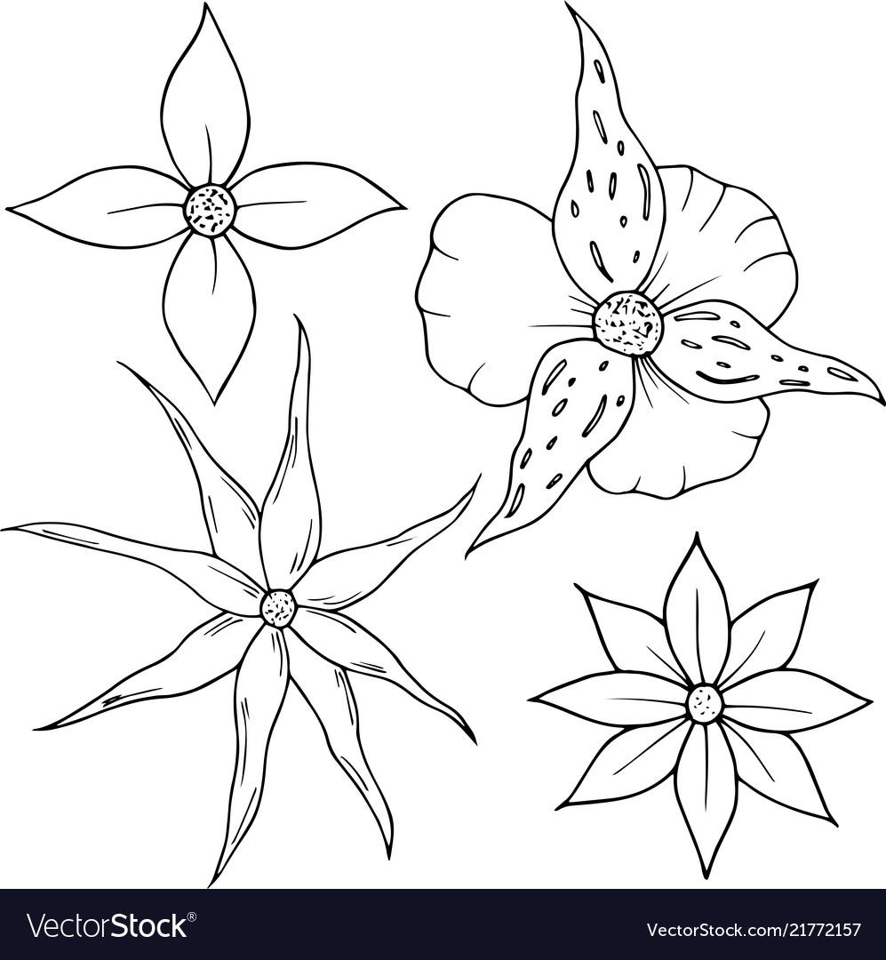 Flower set in cartoon style