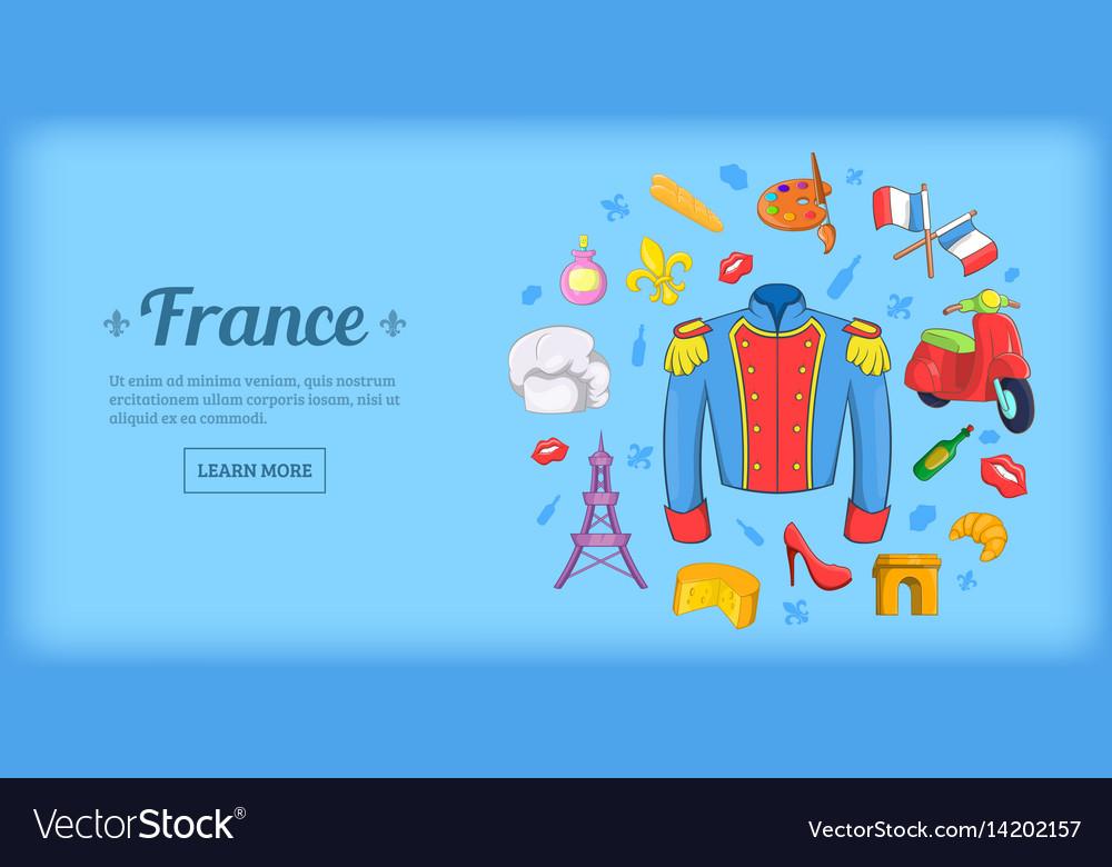 France travel horizontal banner cartoon style vector image