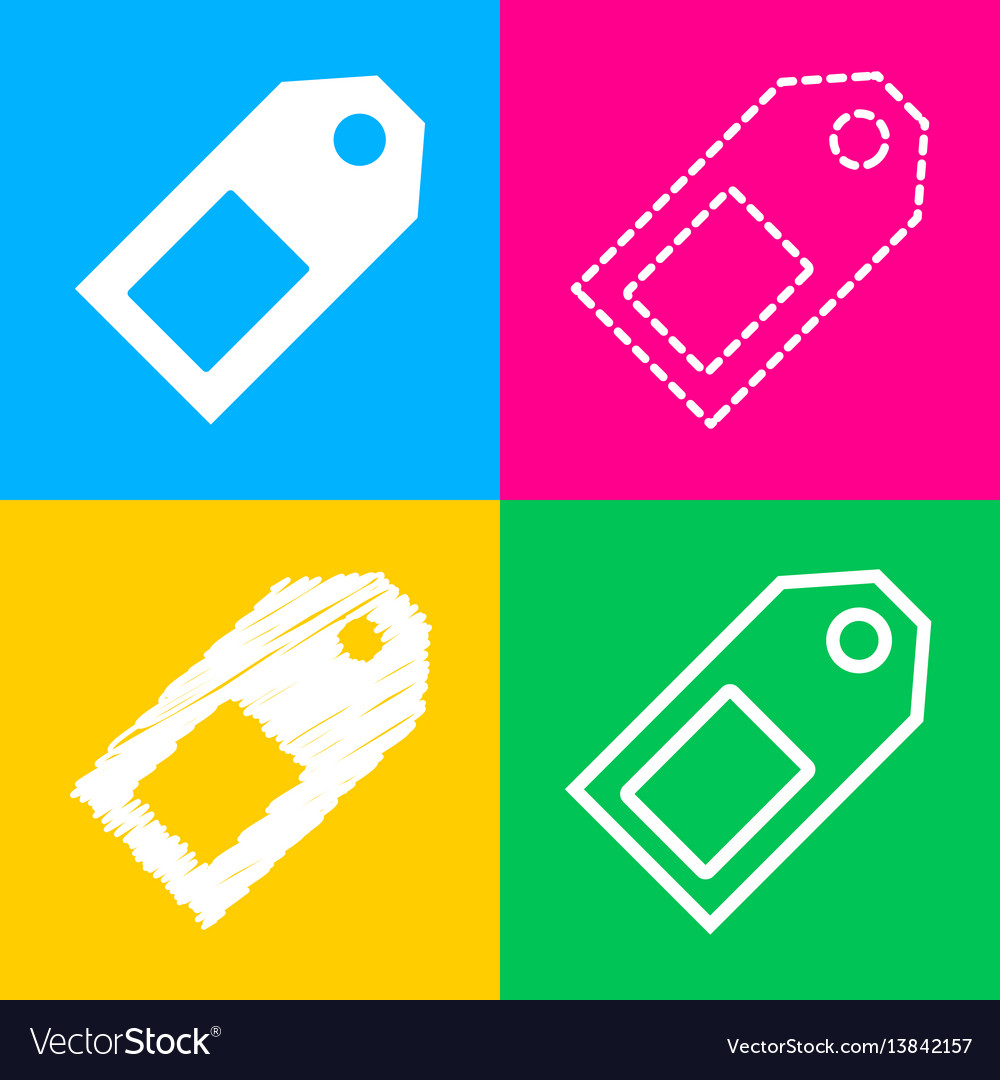 Price tag sign four styles of icon on four color vector image