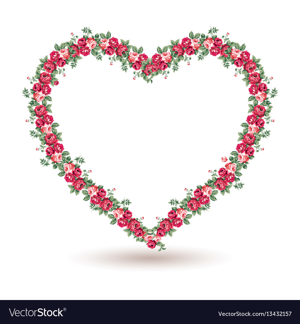 Rose frame with shabchic roses