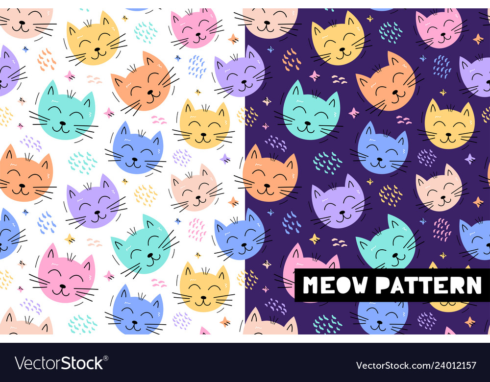 Seamless childish pattern with funny cat animals