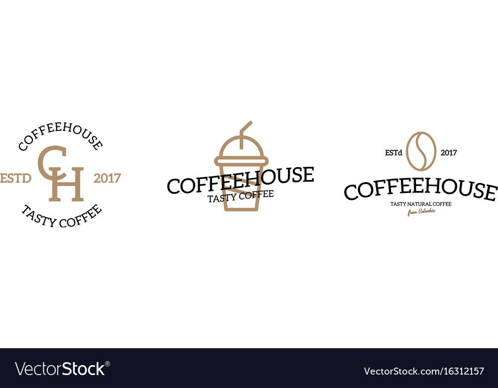 Set of coffee logo emblem design on white