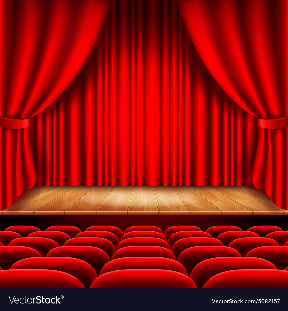 Theater stage with red curtain and seats