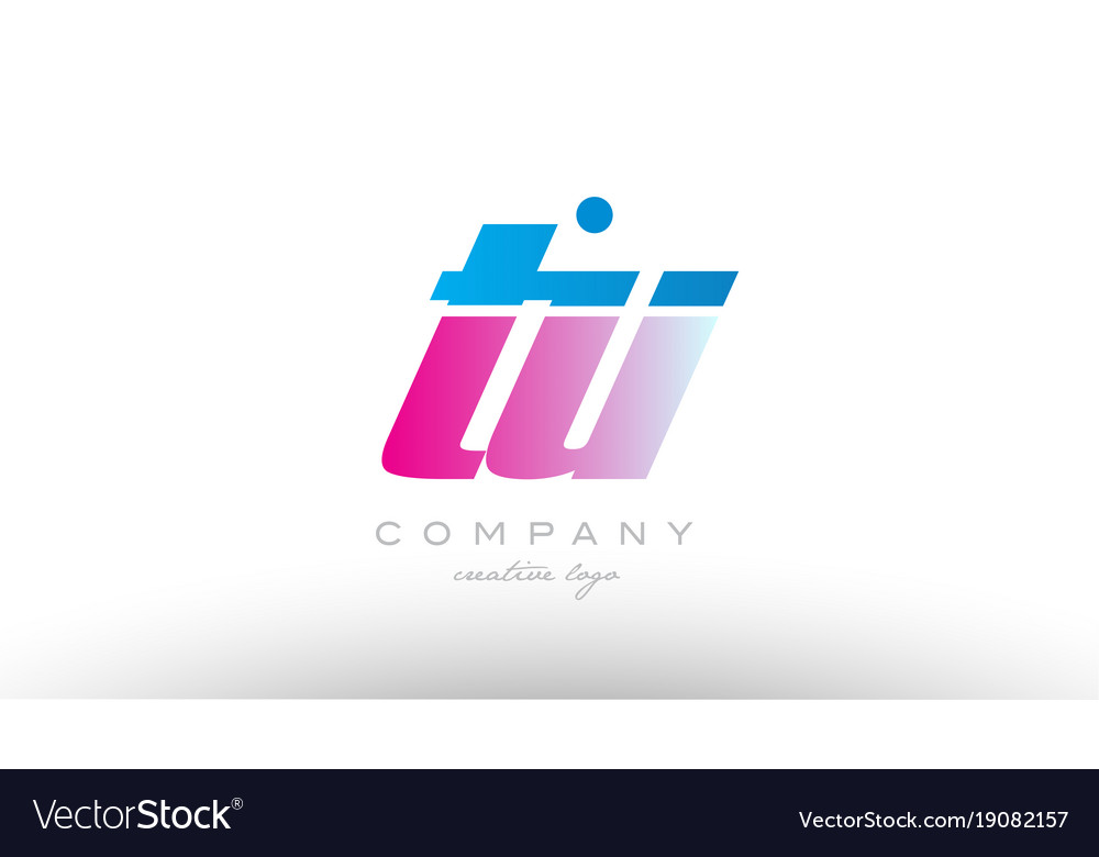 Tu t u alphabet letter combination pink blue bold vector image