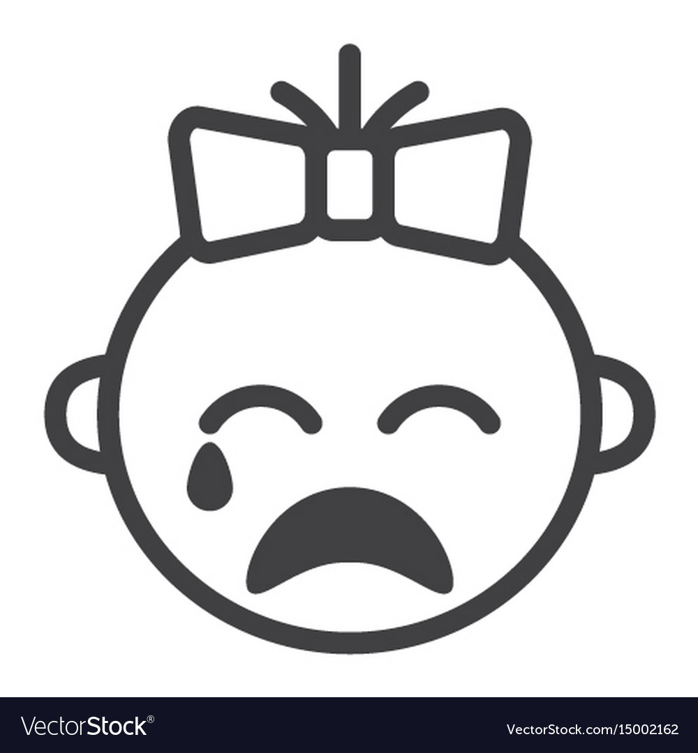 Baby girl cry line icon child and infant vector image