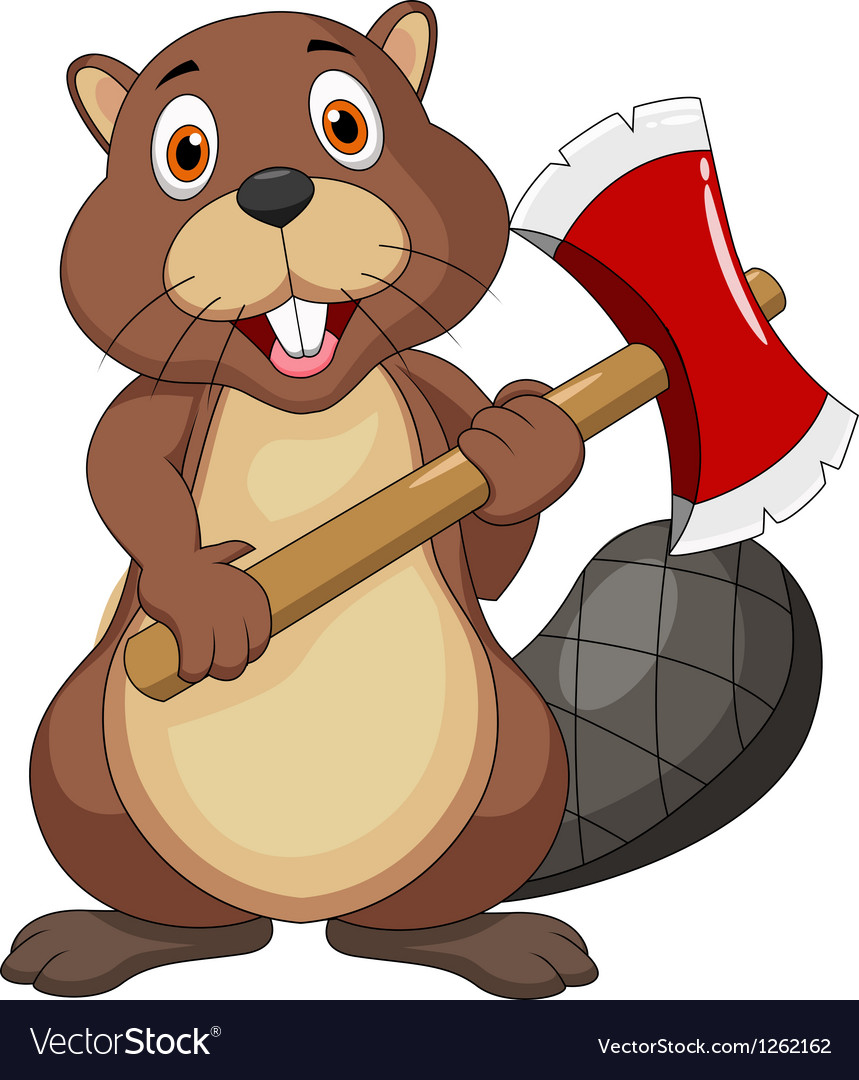 Beaver cartoon holding axe