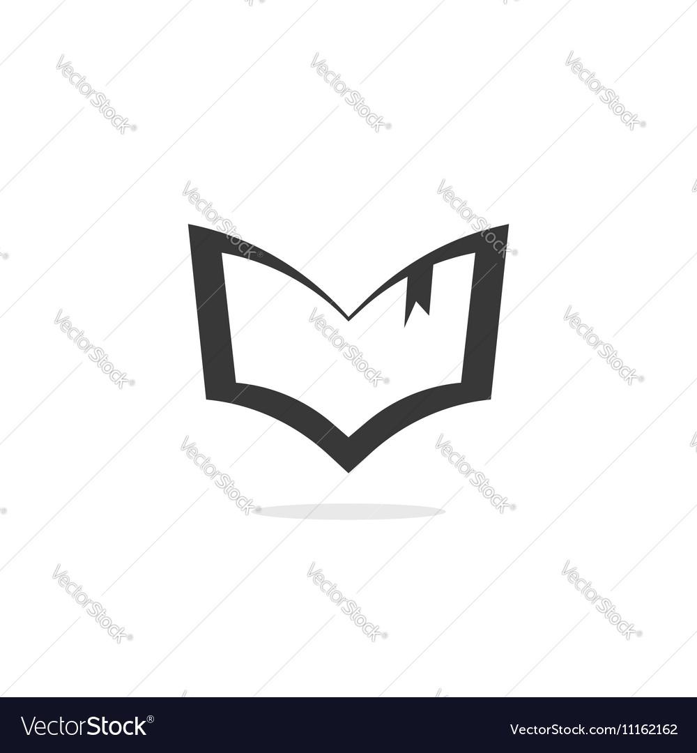 Book silhouette logo outline open textbook vector image