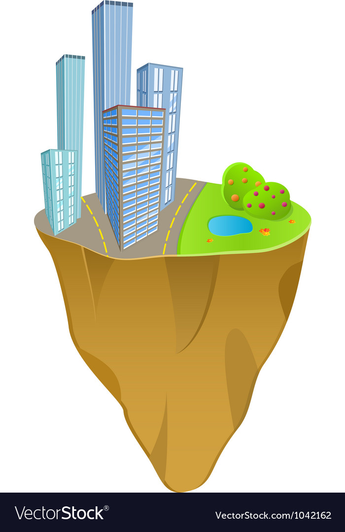Buildings and nature concept on mini slice planet vector image