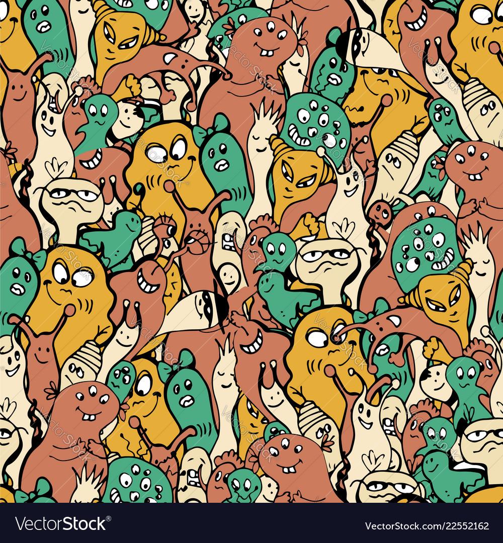 Cartoon monsters seamless pattern hand draw