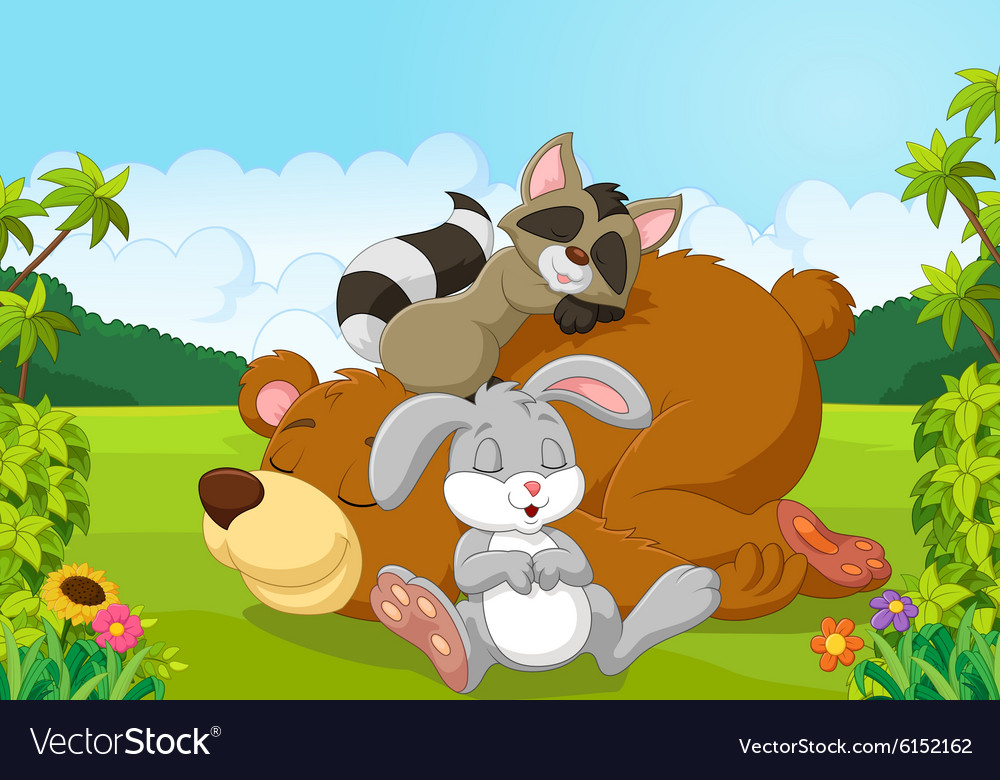 Cartoon wild animals sleeping in the jungle vector image