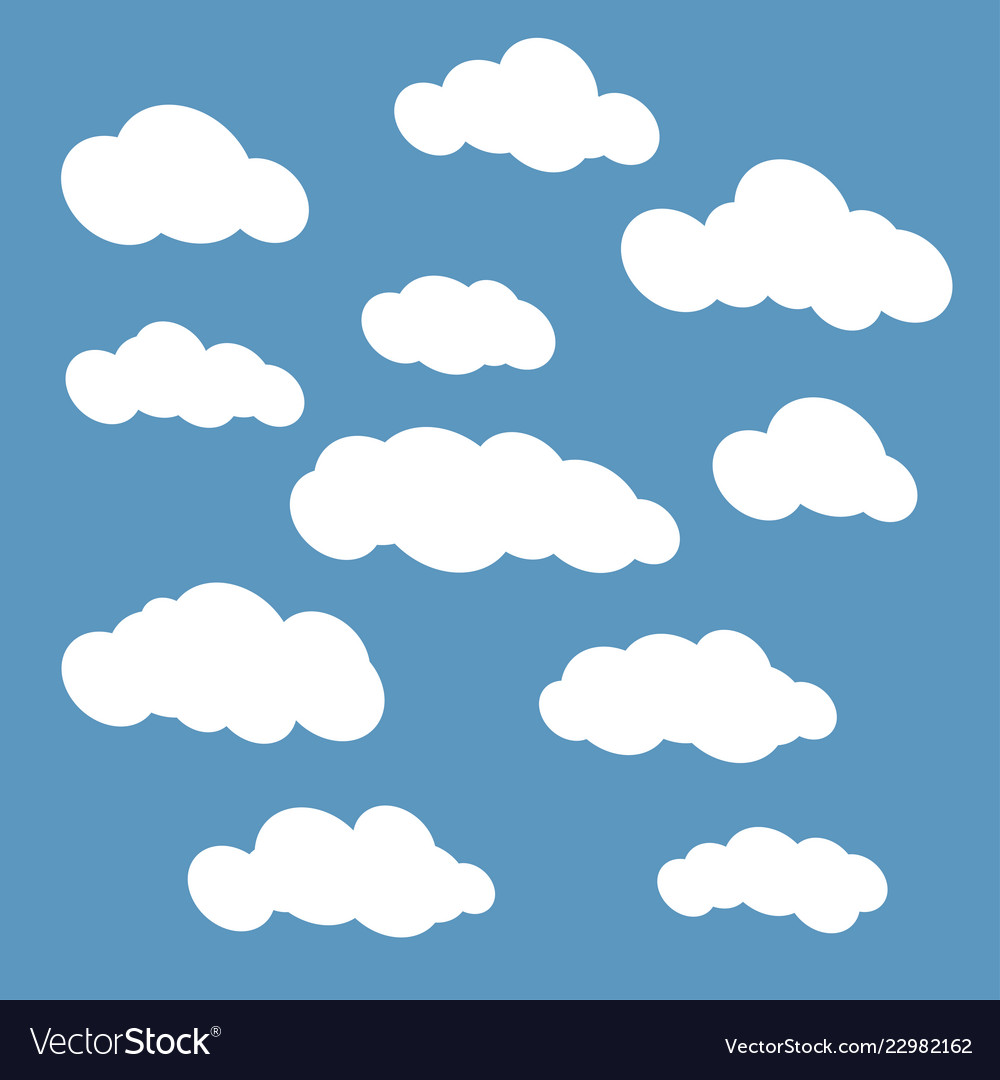 Clouds set isolated on blue sky background