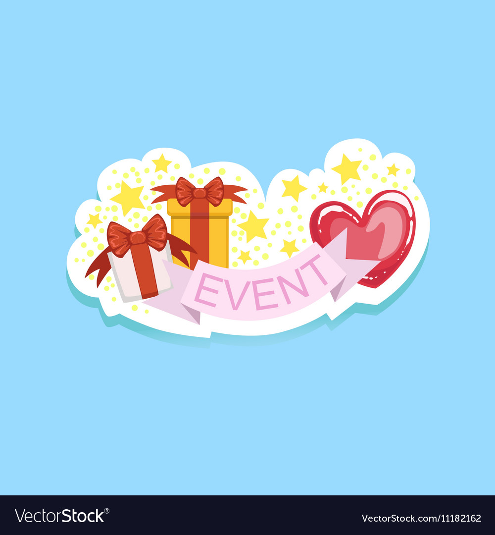Event Template Label Cute Sticker With Heart And