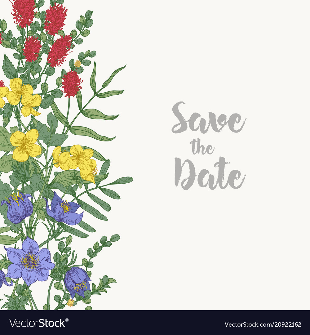 Floral square save date card template