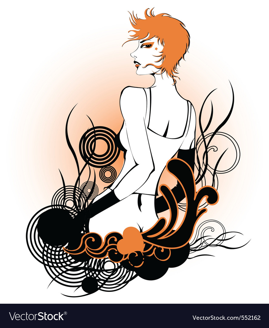 Funky woman background vector image