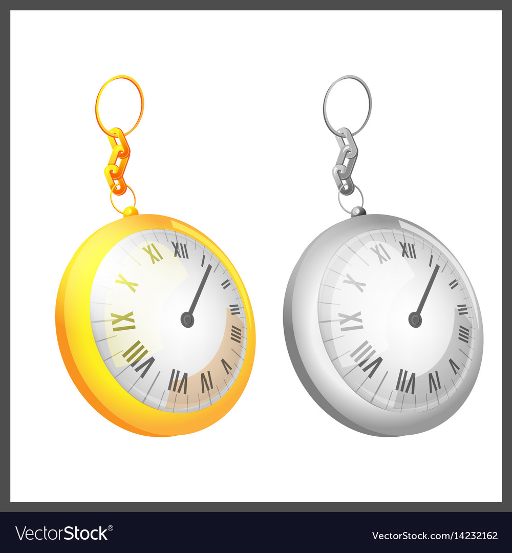 Gold silver couple pocket clock