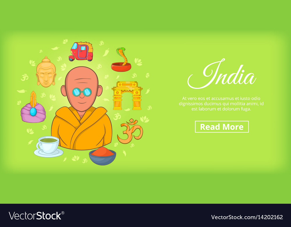 India travel horizontal banner cartoon style
