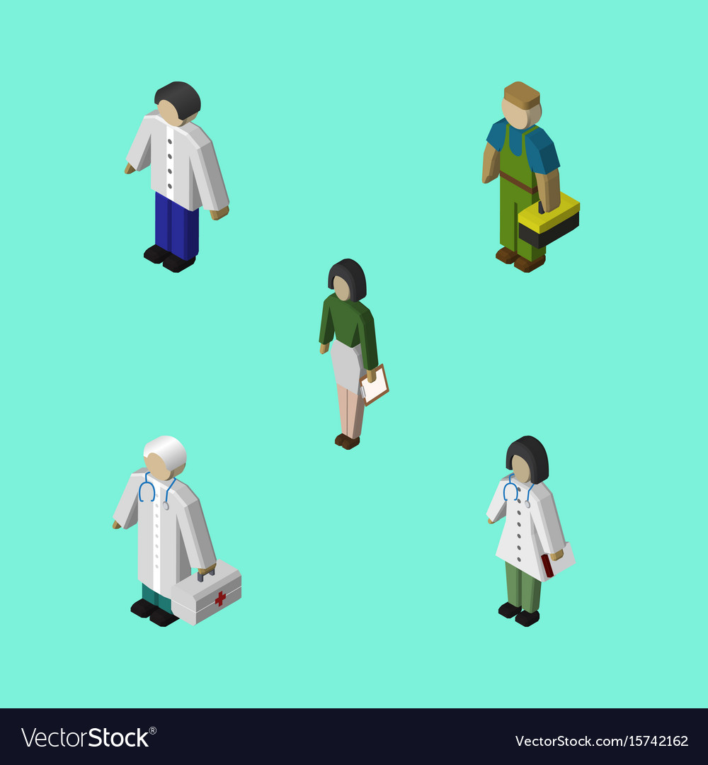 Isometric person set of pedagogue medic male and