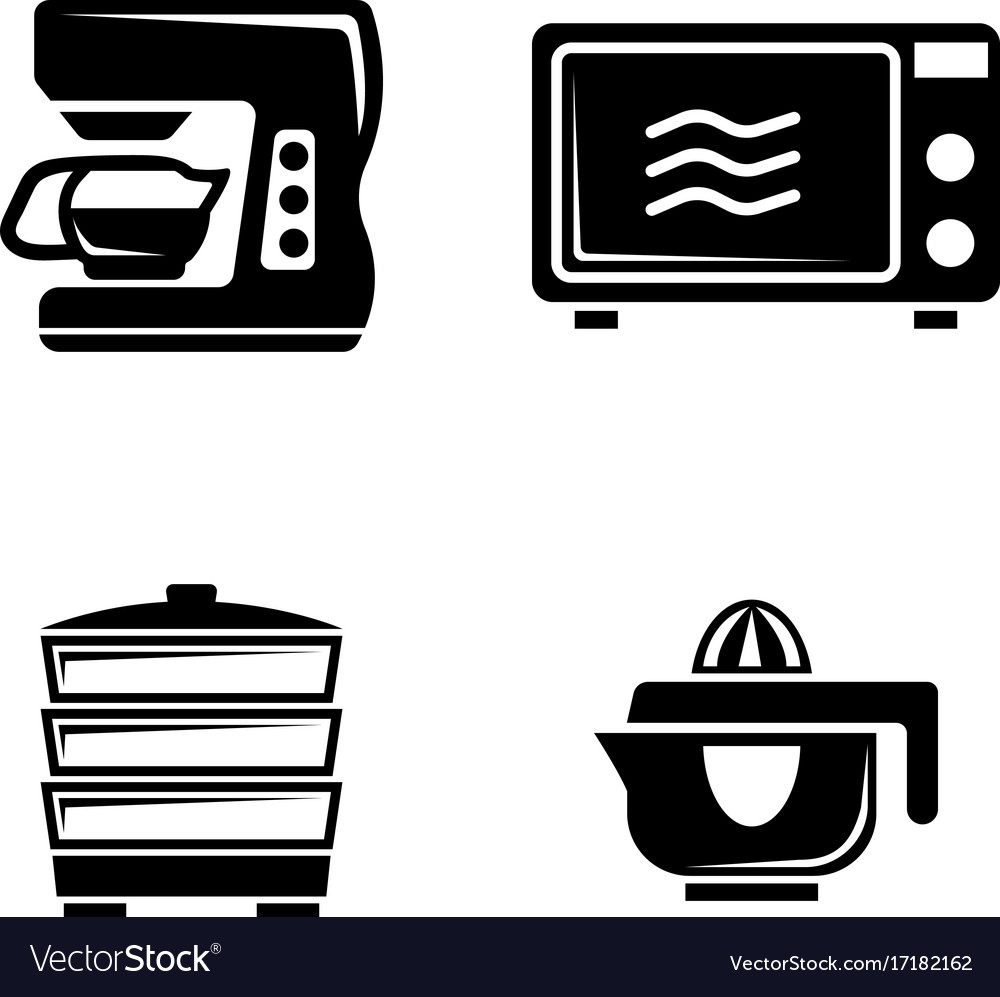 Kitchen accessories simple related icons