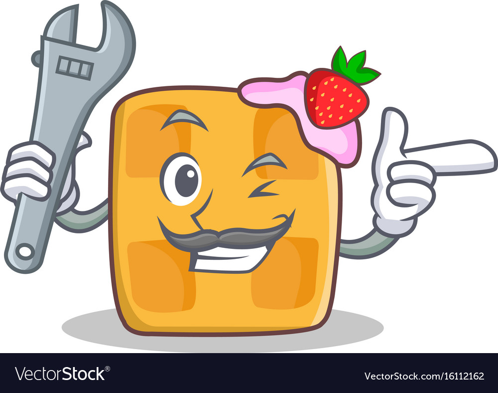 Mechanic waffle character cartoon design