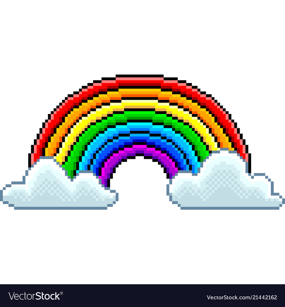 Pixel rainbow with clouds isolated