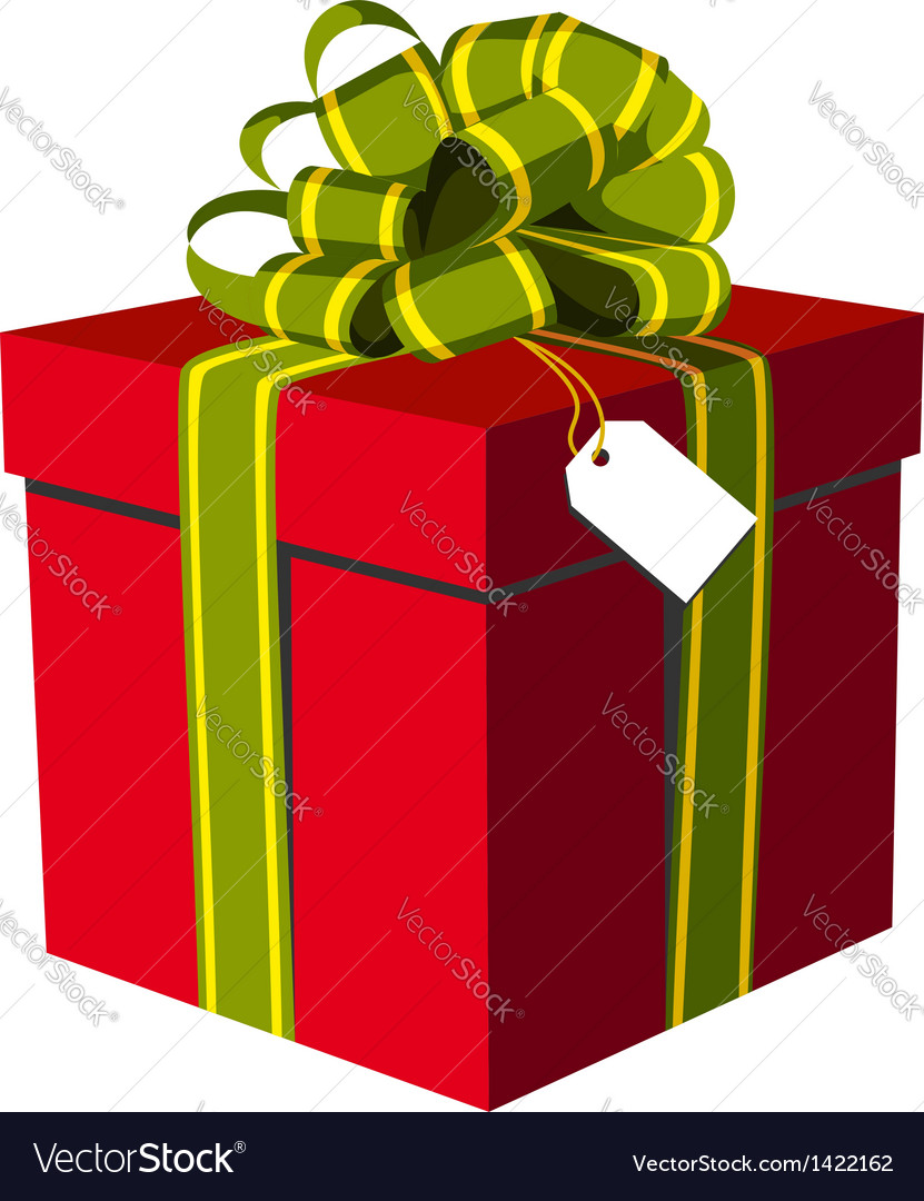 Red gift box with green and golden ribbon