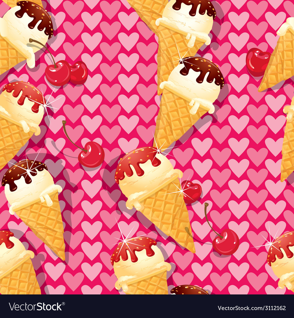 Seamless pattern with Vanilla Ice cream cones with vector image