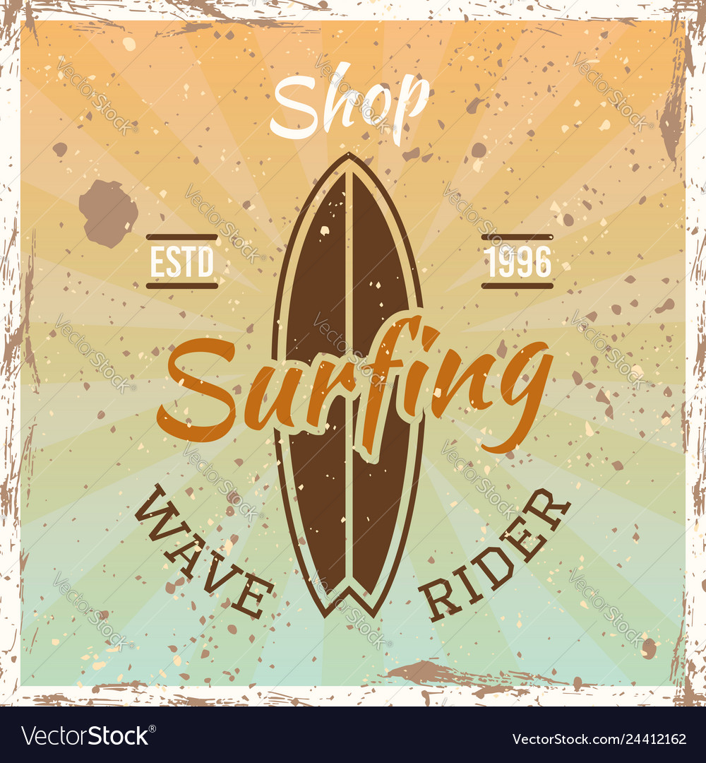 Surfing colored vintage emblem with surfboard