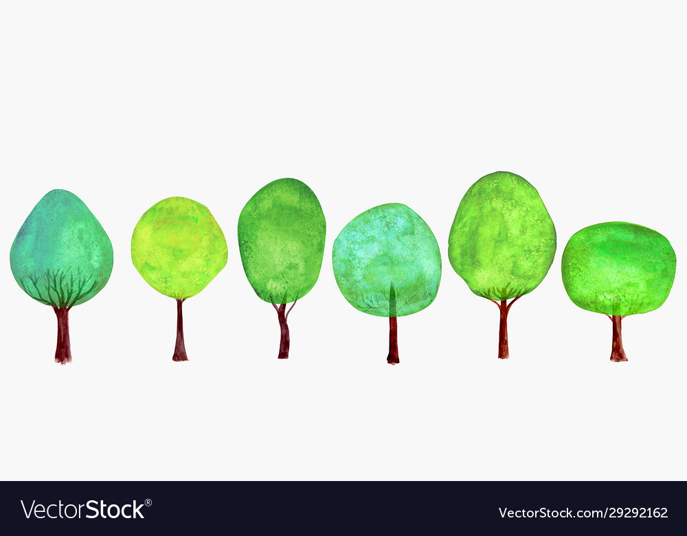 Trees set summer background watercolor cartoon