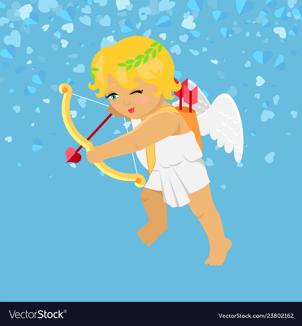 Valentine blue card cupid aiming with bow