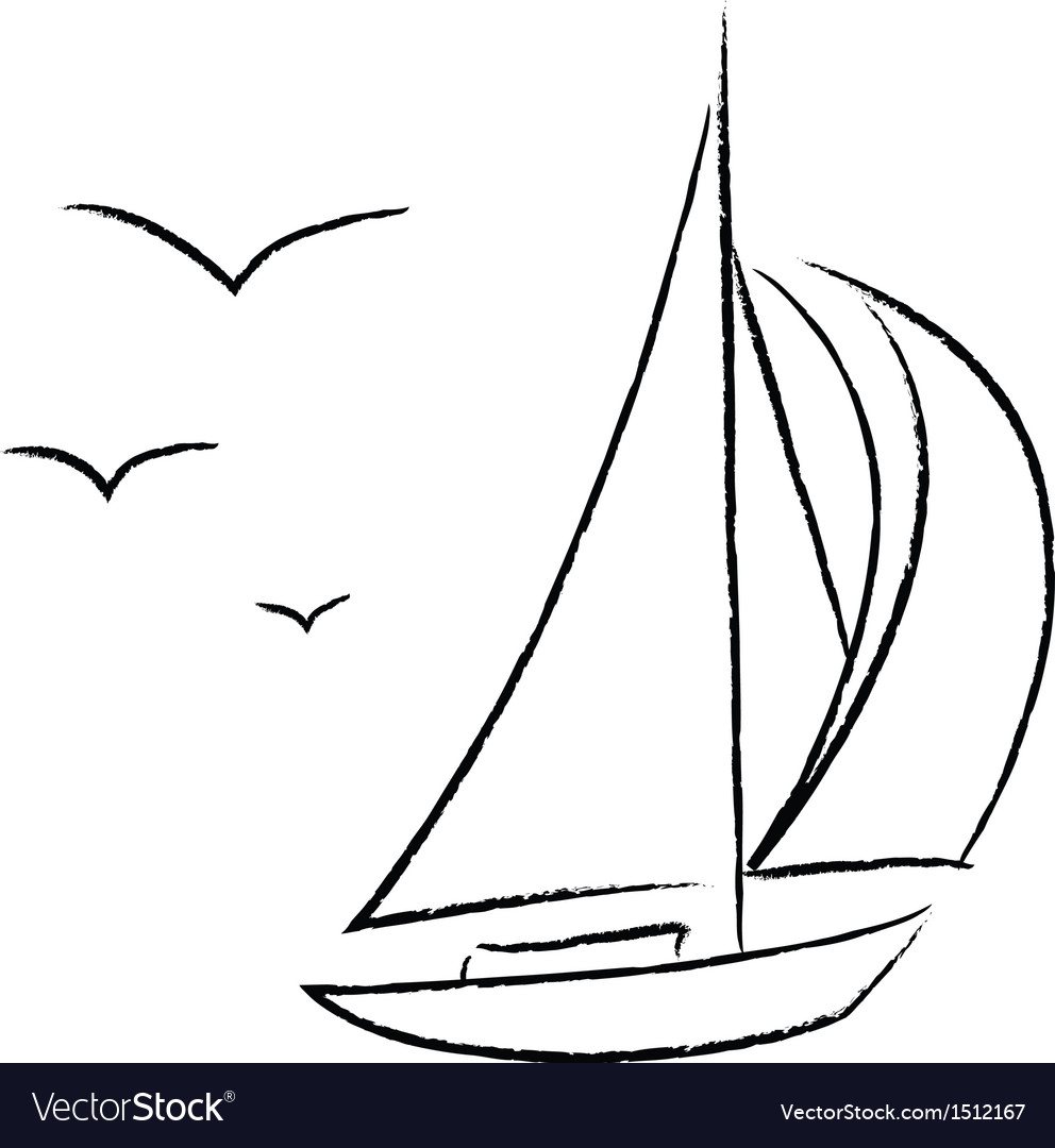 Chalk Sailboat with Birds Outline