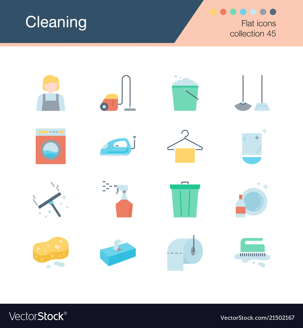Cleaning icons flat design collection 45 for