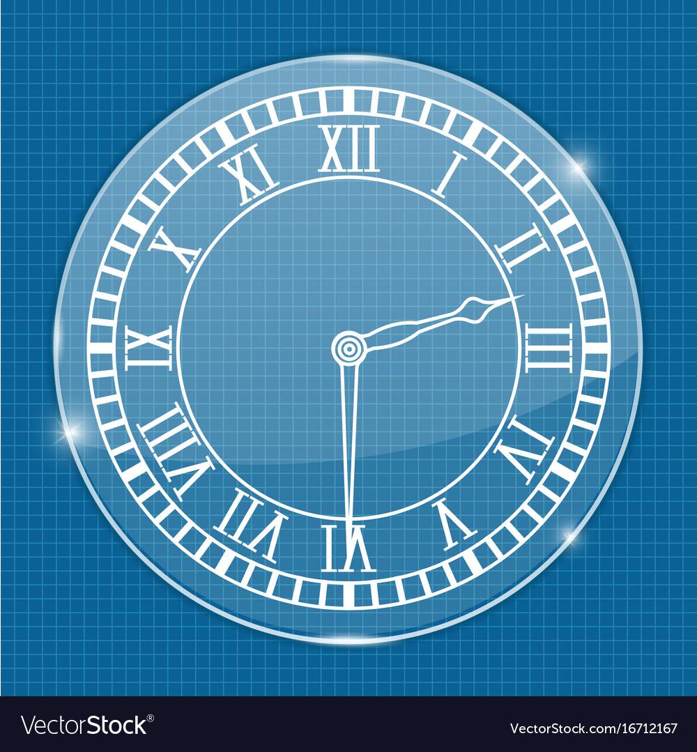 Clock face on blueprint background royalty free vector image clock face on blueprint background vector image malvernweather Choice Image