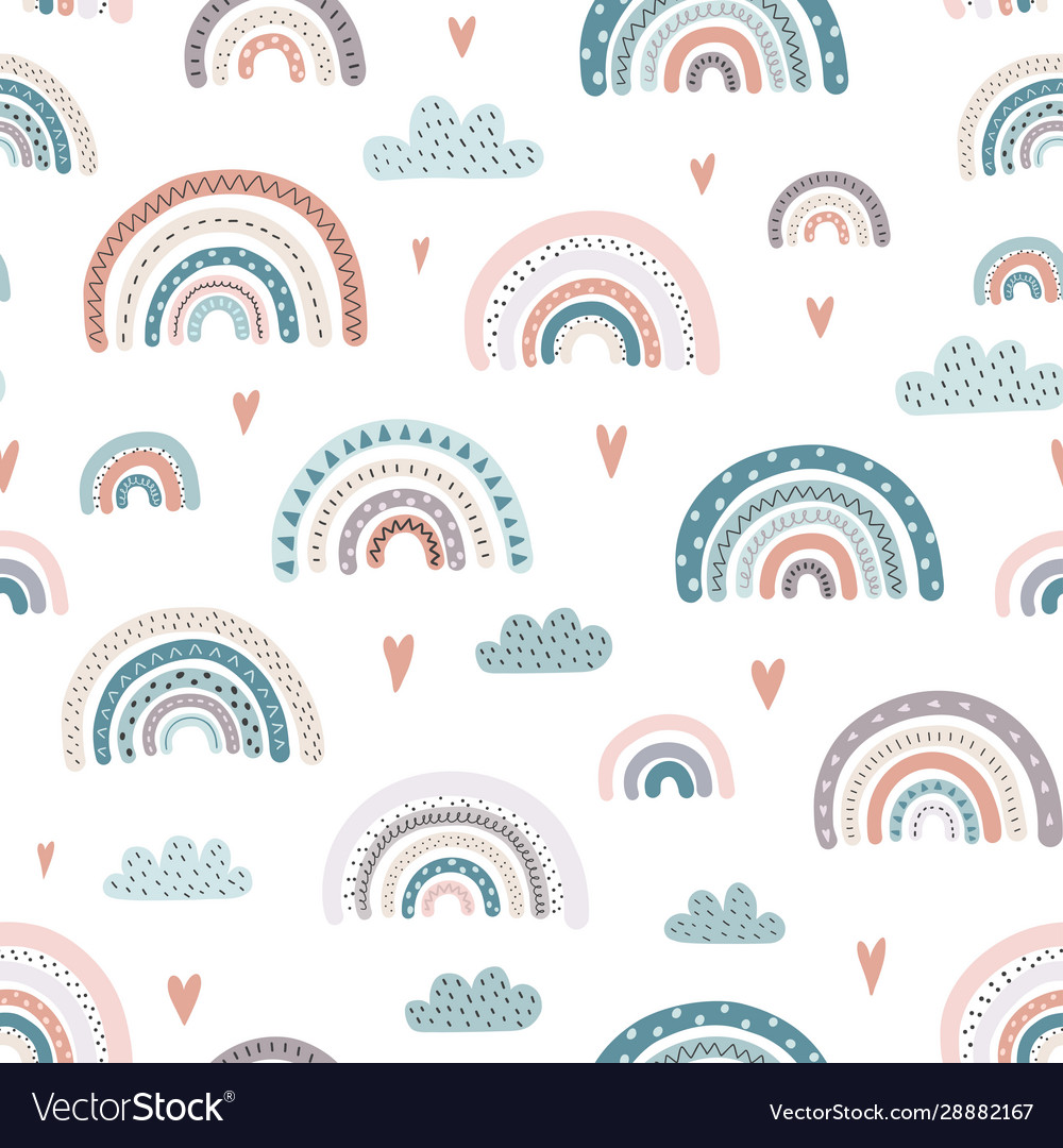 Cute rainbows and hearts seamless pattern