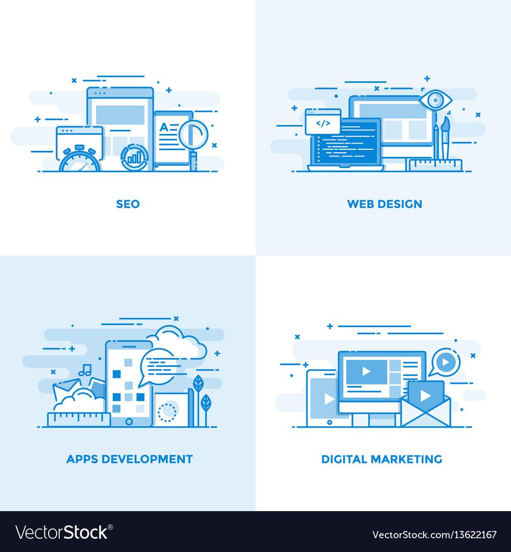 Flat line designed concepts vector image