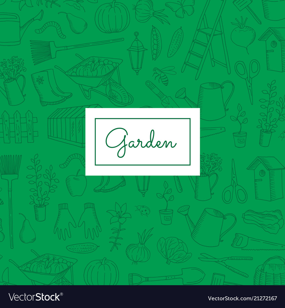 Gardening doodle icons background with