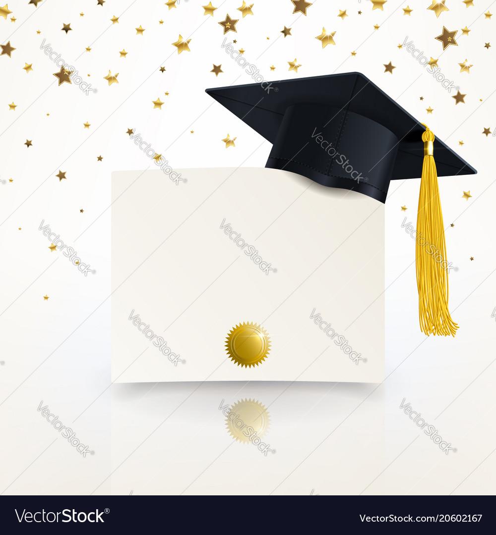 Graduate cap and diploma graduation