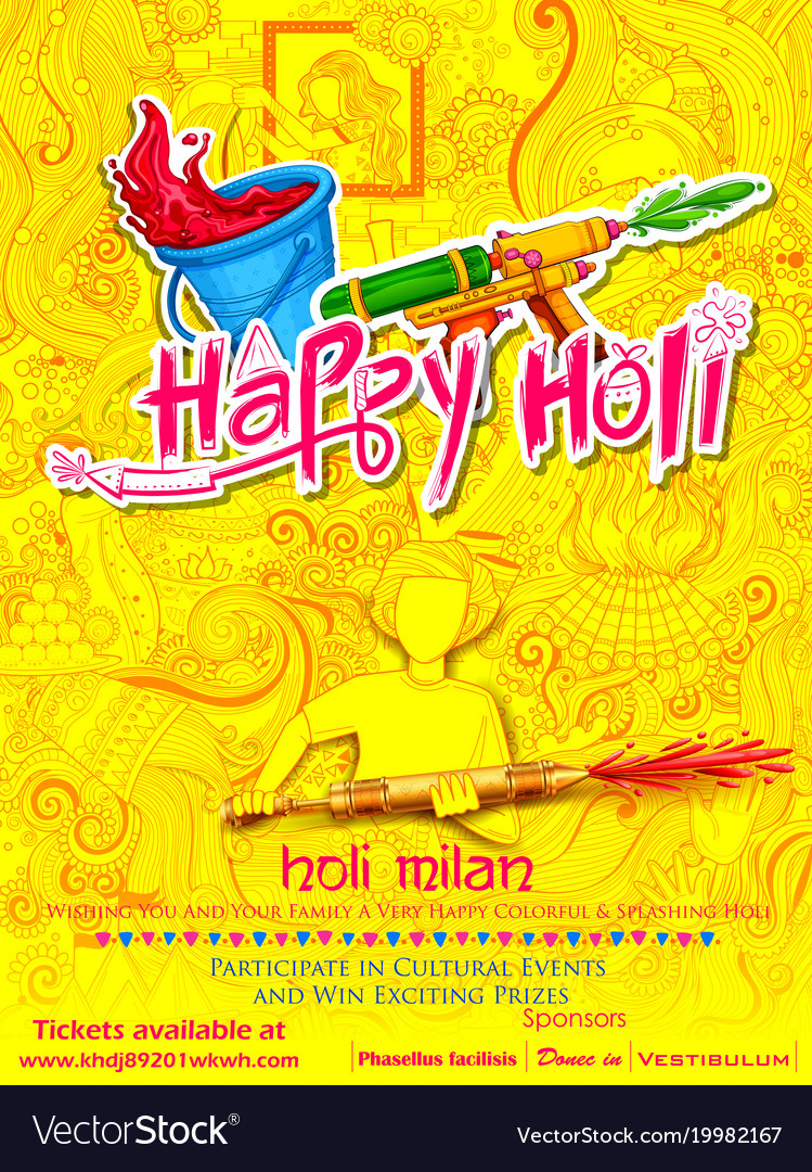 Happy holi doodle background for festival of