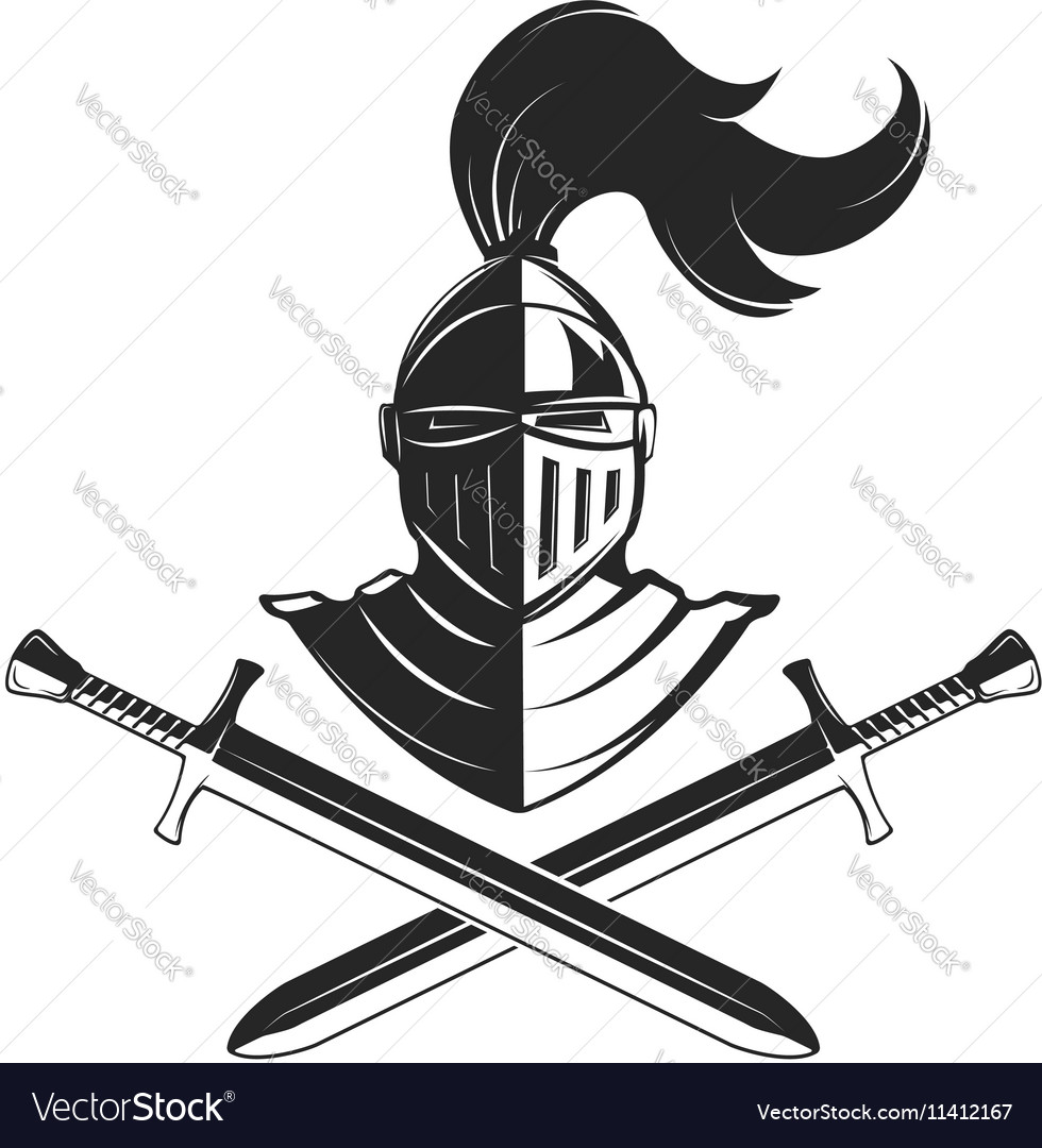 Knight helmet with two swords isolated on white vector image