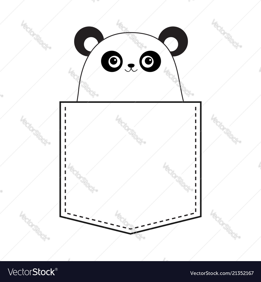 Panda bear head face in the pocket doodle linear