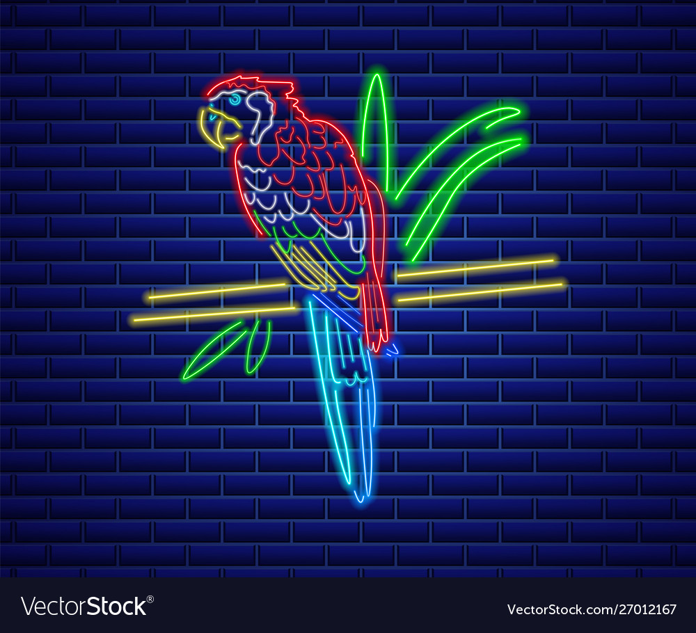 Parrot neon glowing shiny colorful bird decor