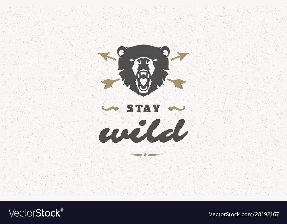 Quote typography with hand drawn angry bear head