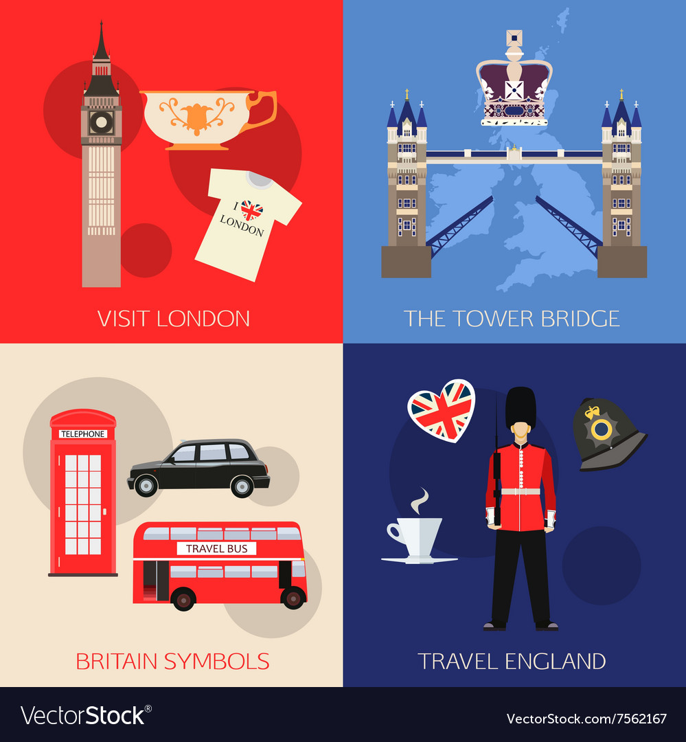 Set of England travel compositions with place for