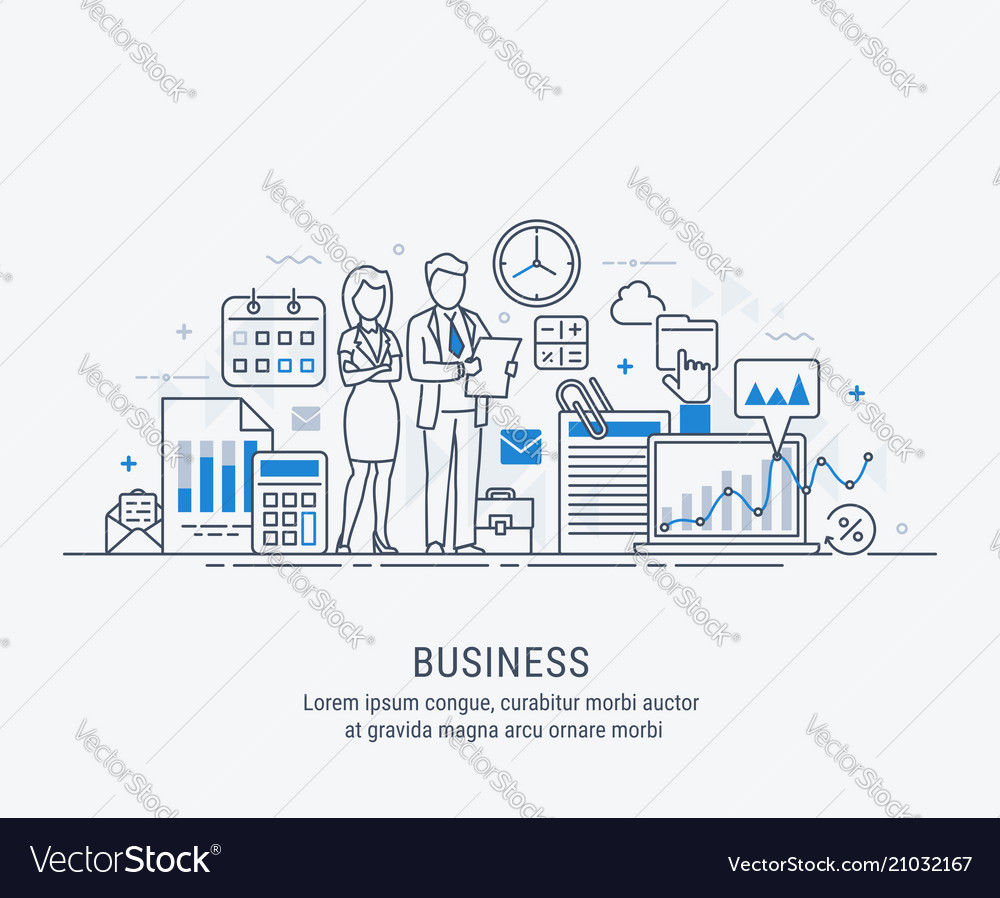 Teamwork modern flat thin line design business vector
