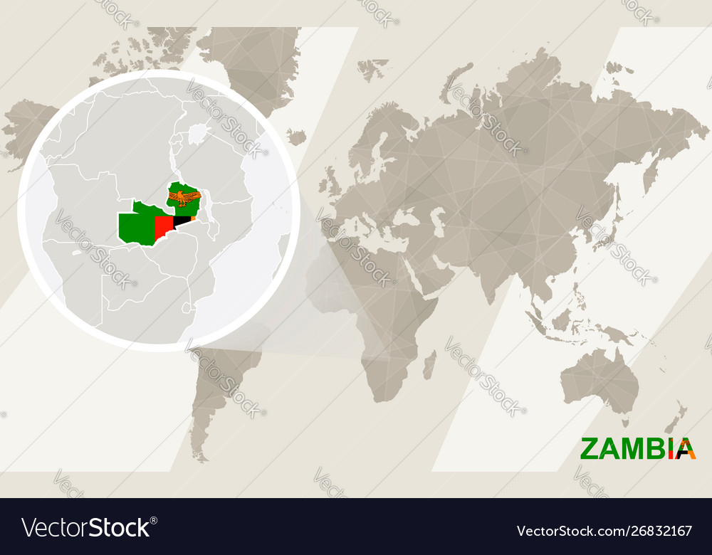 Zoom on zambia map and flag world map